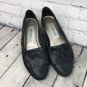 Connie Mable Leather Tassel Loafers Black